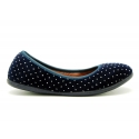 Special shiny velvet canvas ballet flat shoes with crystals.