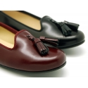 New satin leather Ballet flat shoes slipper style with tassels.