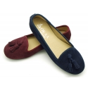 Suede leather Ballet flat shoes slipper style with tassels.