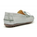 Metal finish nappa leather moccasin shoes with bows for large sizes.