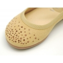Suede leather Mary Janes with strass design in spring colors.