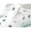 Cotton canvas T-strap shoes with STARS print design.