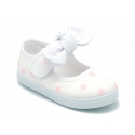 Cotton canvas Little Mary Janes with velcro strap and STARS print.