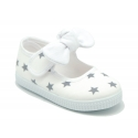 Cotton canvas Little Mary Janes with hook and loop strap and STARS print.