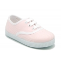 Cotton stripe canvas bamba type shoes with shoelaces.