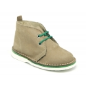 Classic Safari boots in nubuck leather and white soles.