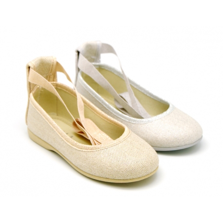 METAL LINEN canvas ballet flat shoes dancer style.