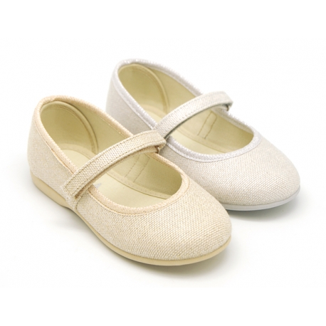 METAL LINEN canvas Mary Janes with hook and loop strap.