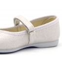METAL LINEN canvas Mary Janes with velcro strap.