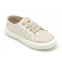 Metallic linen canvas sneaker shoes with ties closure.