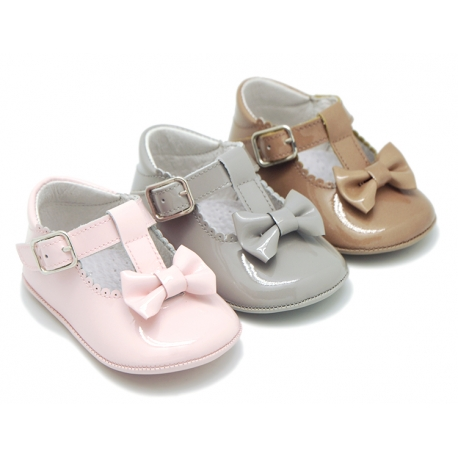 Patent leather Little T- Strap Mary janes for babies.
