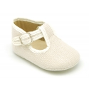 LINEN canvas little T-strap shoes for babies.