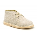 Natural Linen canvas safari boots with shoelaces.