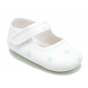 Cotton canvas little Mary Janes for babies and stars print design.