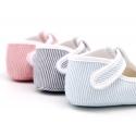 Cotton canvas T-strap shoes for babies with stripes print design.