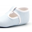 Cotton canvas T-strap shoes for babies with stripes print design.