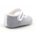 Cotton canvas little Mary Janes with stripes print design.