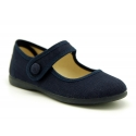 Dress cotton canvas Little Mary Janes with hook and loop strap.