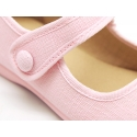 Dress cotton canvas Little Mary Janes with velcro strap.