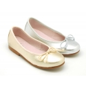 Metal finish soft leather Classic Ballet flats with adjustable ribbon.