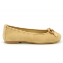 New suede leather Ballet flats with crossed ribbons.