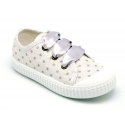 New Metal cotton canvas Bamba shoes with ties closure and toe cap.