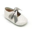 Metal linen canvas Mary Janes angle style for baby.