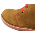 Suede safari boots with contrast stitching, laces and Outsole.