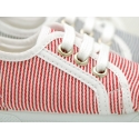 Cotton stripes Bamba type shoes with toe cap.