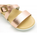Metal finish leather sandal with anatomical white soles.