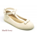T-strap linen canvas Little Mary Janes with ribbon.