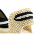 Stripes print Cotton canvas espadrilles shoes valenciana style.
