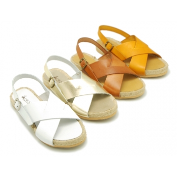 Leather sandal shoes espadrille style with crossed straps.
