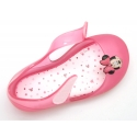 Jelly shoes ballet flat style with hook and loop strap and MINNIE design.