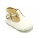 Classic cotton canvas T-Strap shoes for babies with velcro.