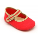 Cotton canvas baby Mary janes with velcro and buckle fastening.