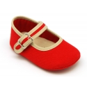 Cotton canvas baby Mary janes with hook and loop strap and buckle fastening.