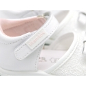White Nappa leather sandal shoes with glitter finish for little girls and SUPER FLEXIBLE soles.