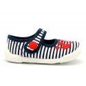 Cotton canvas little Mary Janes with nautical design.