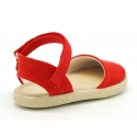 Little soft canvas espadrilles with hook and loop strap for girls.