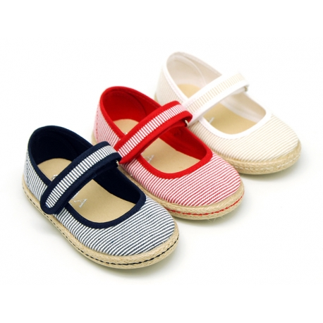 Cotton canvas little Mary Jane shoes with velcro strap and stripes print.