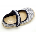 Cotton canvas little Mary Jane shoes with hook and loop strap and stripes print.