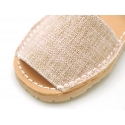 LINEN canvas Menorquina sandals with rear strap and flexible soles.