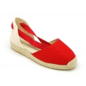 Red cotton canvas espadrille shoes Valenciana style.