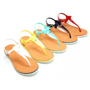 New T-strap sandal shoes with jelly design to dress.