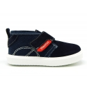 Ankle boots tennis style with velcro strap in suede leather with canvas.