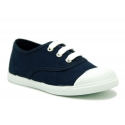 Classic cotton canvas Bamba type shoes with shoelaces.