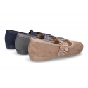 New autumn winter canvas ballet flats with crossed elastic band design.