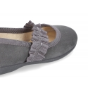 New autumn winter canvas ballet flat with crossed elastic band design.