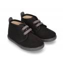Autumn winter canvas little ankle boots in BLACK color.